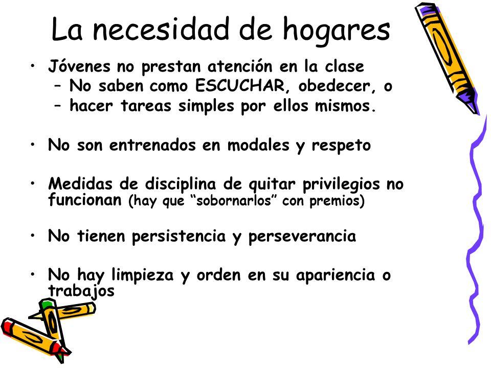 La necesidad de hogares Jóvenes no prestan atención en la clase –No saben como ESCUCHAR, obedecer, o –hacer tareas simples por ellos mismos.