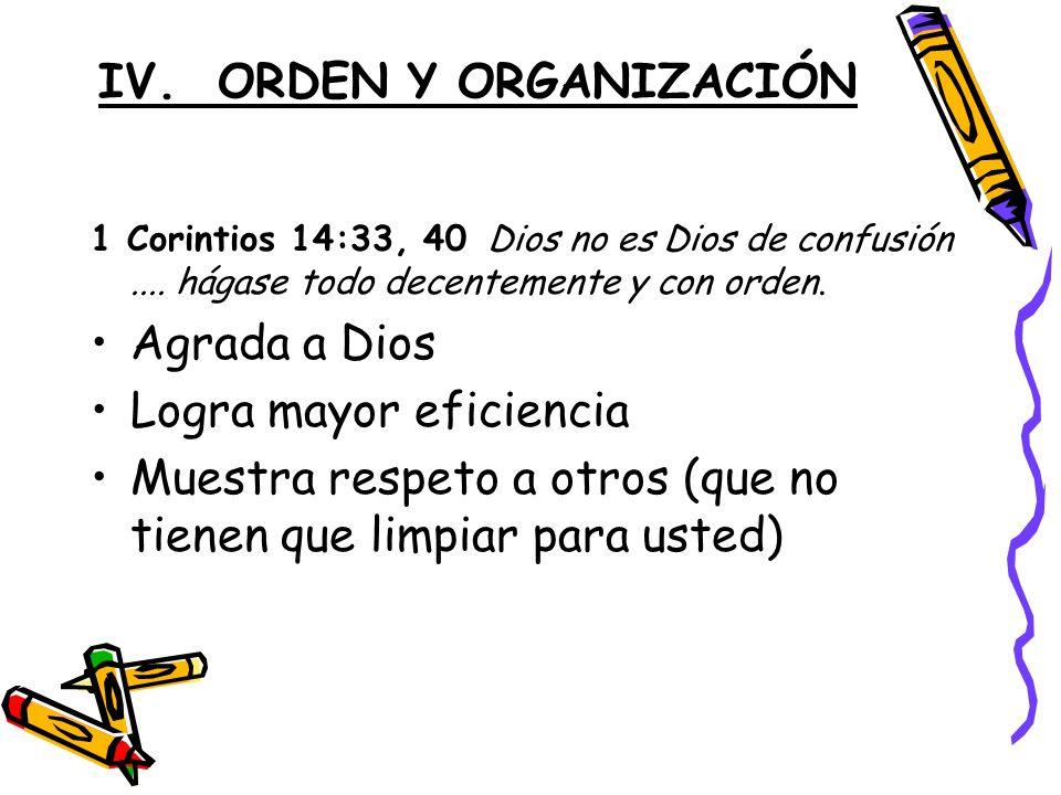 IV.ORDEN Y ORGANIZACIÓN 1 Corintios 14:33, 40 Dios no es Dios de confusión....
