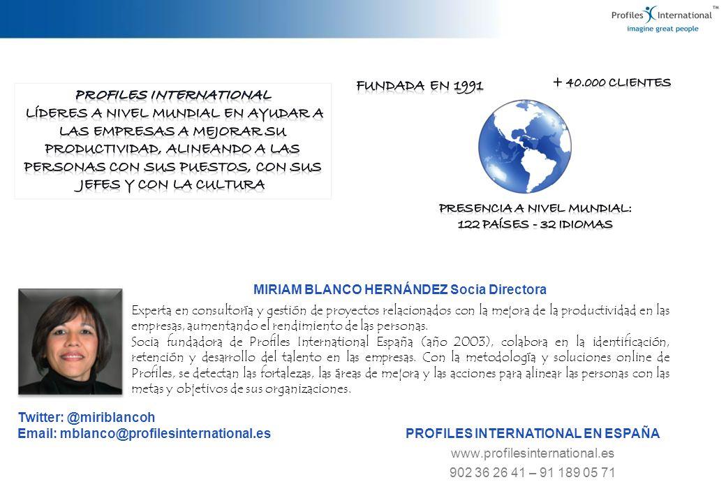 MIRIAM BLANCO HERNÁNDEZ Socia Directora Experta en consultoría y gestión de proyectos relacionados con la mejora de la productividad en las empresas,