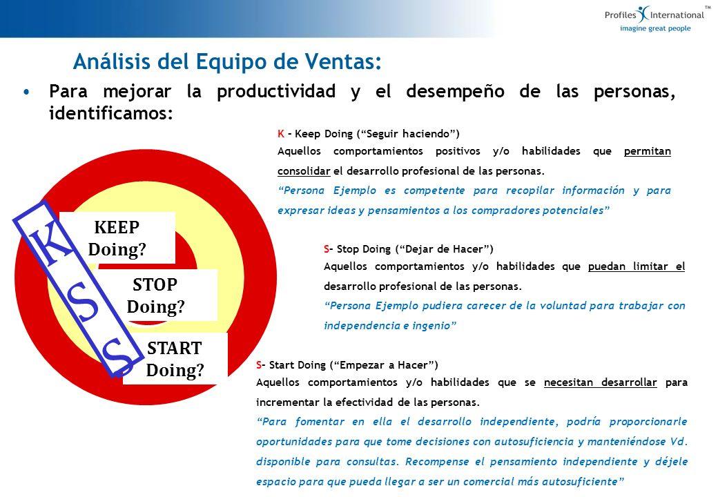 Para mejorar la productividad y el desempeño de las personas, identificamos: 7 Análisis del Equipo de Ventas: KEEP Doing? STOP Doing? START Doing? KSS