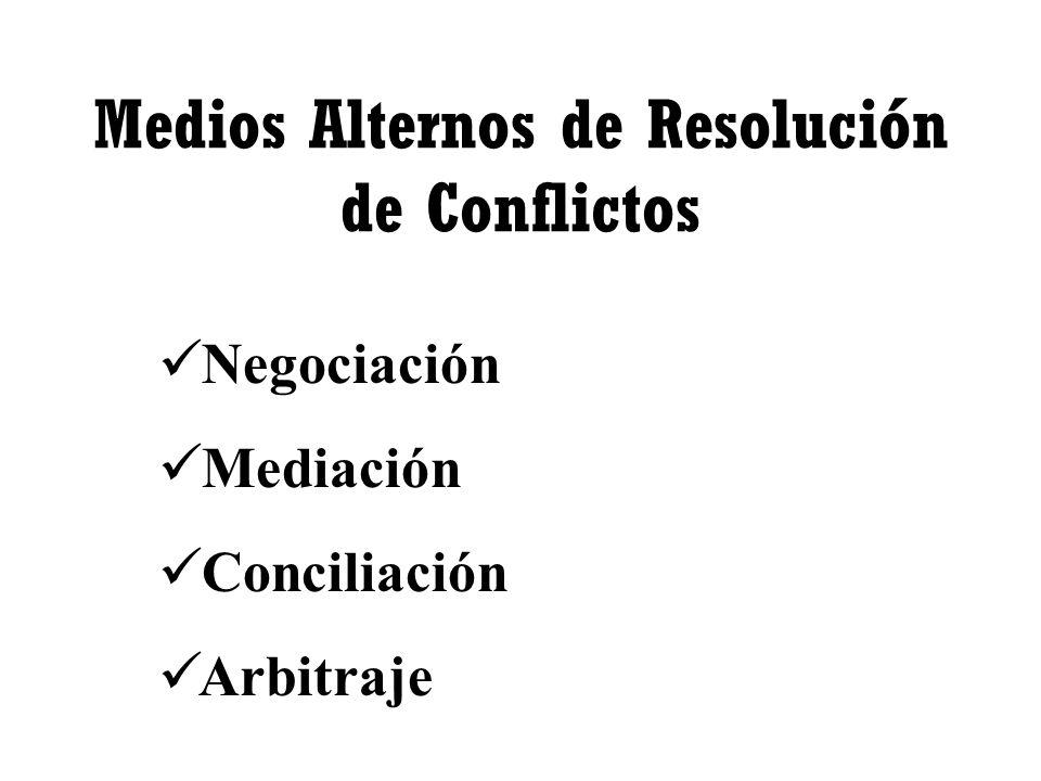 Medios Alternos de Resolución de Conflictos Negociación Mediación Conciliación Arbitraje