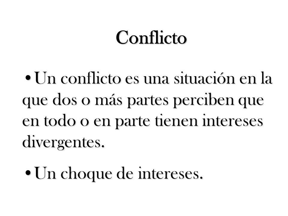 Un conflicto es una situación en la que dos o más partes perciben que en todo o en parte tienen intereses divergentes.Un conflicto es una situación en