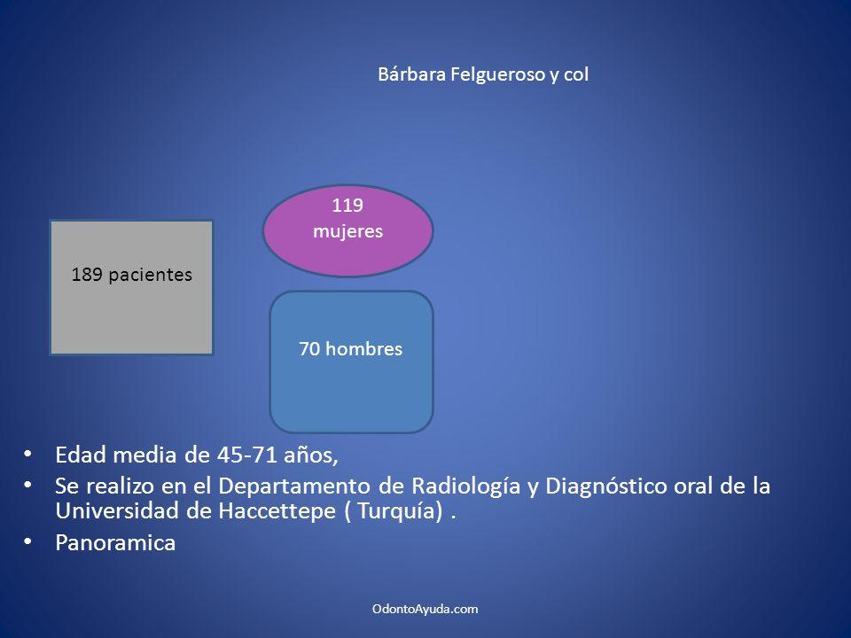 Edad media de 45-71 años, Se realizo en el Departamento de Radiología y Diagnóstico oral de la Universidad de Haccettepe ( Turquía). Panoramica 189 pa
