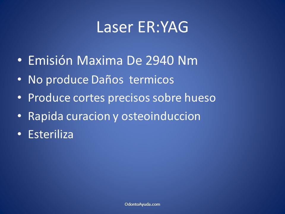 Laser ER:YAG Emisión Maxima De 2940 Nm No produce Daños termicos Produce cortes precisos sobre hueso Rapida curacion y osteoinduccion Esteriliza Odont