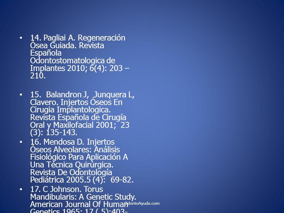 14. Pagliai A. Regeneración Ósea Guiada. Revista Española Odontostomatologica de Implantes 2010; 6(4): 203 – 210. 15. Balandron J, Junquera L, Clavero