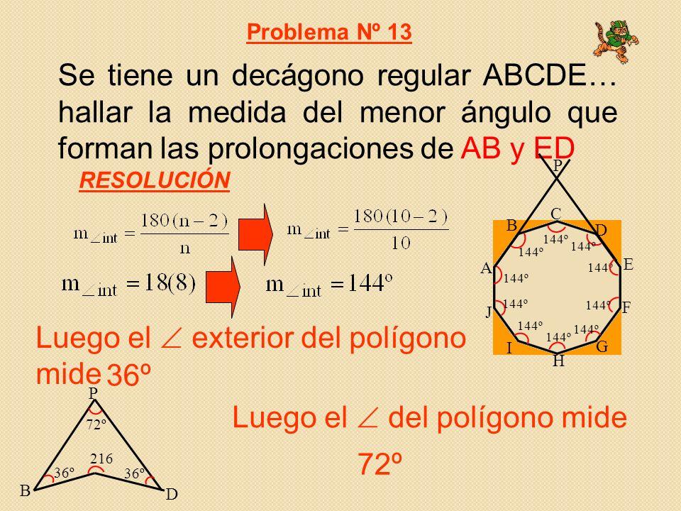 Se tiene un decágono regular ABCDE… hallar la medida del menor ángulo que forman las prolongaciones de AB y ED Problema Nº 13 Luego el exterior del polígono mide RESOLUCIÓN P B D 36º 216 72º 36º Luego el del polígono mide 72º A B C D E F G H I J P 144º