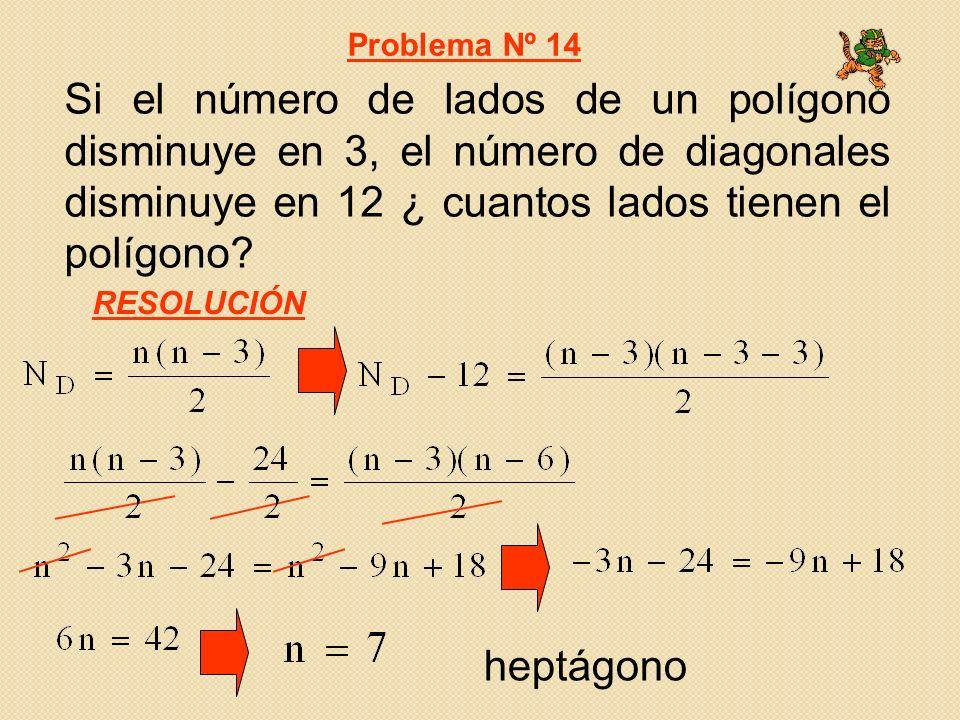 Si el número de lados de un polígono disminuye en 3, el número de diagonales disminuye en 12 ¿ cuantos lados tienen el polígono? Problema Nº 14 RESOLU