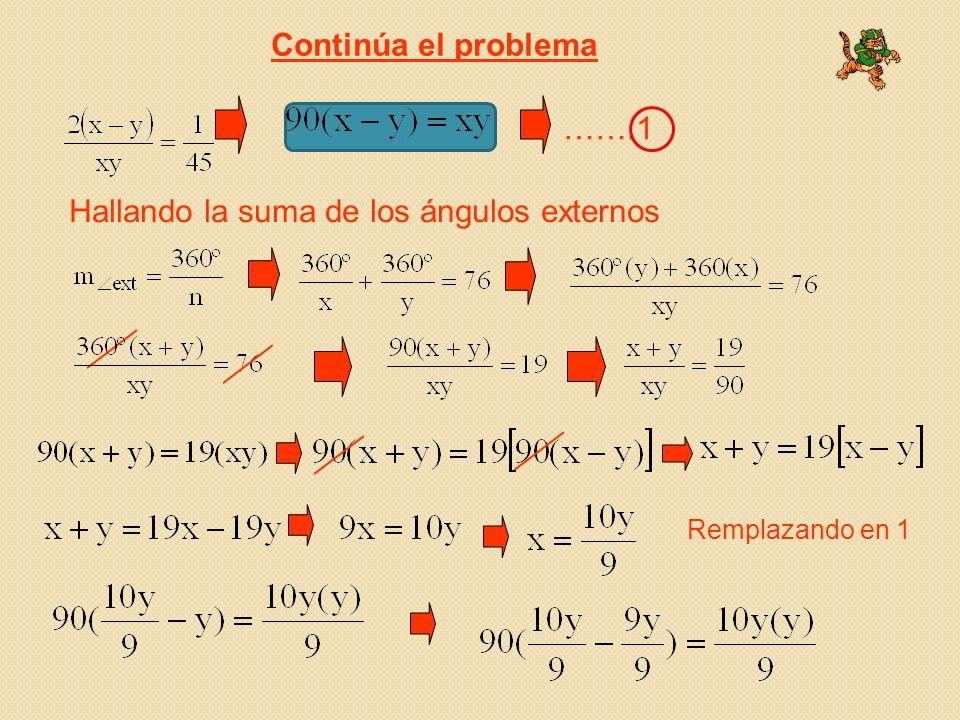 Continúa el problema …….1 Hallando la suma de los ángulos externos Remplazando en 1