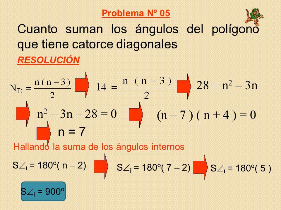 Cuanto suman los ángulos del polígono que tiene catorce diagonales Problema Nº 05 RESOLUCIÓN n = 7 28 = n 2 – 3n n 2 – 3n – 28 = 0 (n – 7 ) ( n + 4 ) = 0 Hallando la suma de los ángulos internos S i = 180º( n – 2) S i = 180º( 7 – 2) S i = 180º( 5 ) S i = 900º