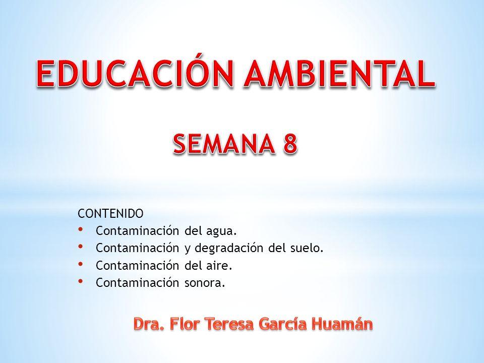 CONTENIDO Contaminación del agua. Contaminación y degradación del suelo. Contaminación del aire. Contaminación sonora.