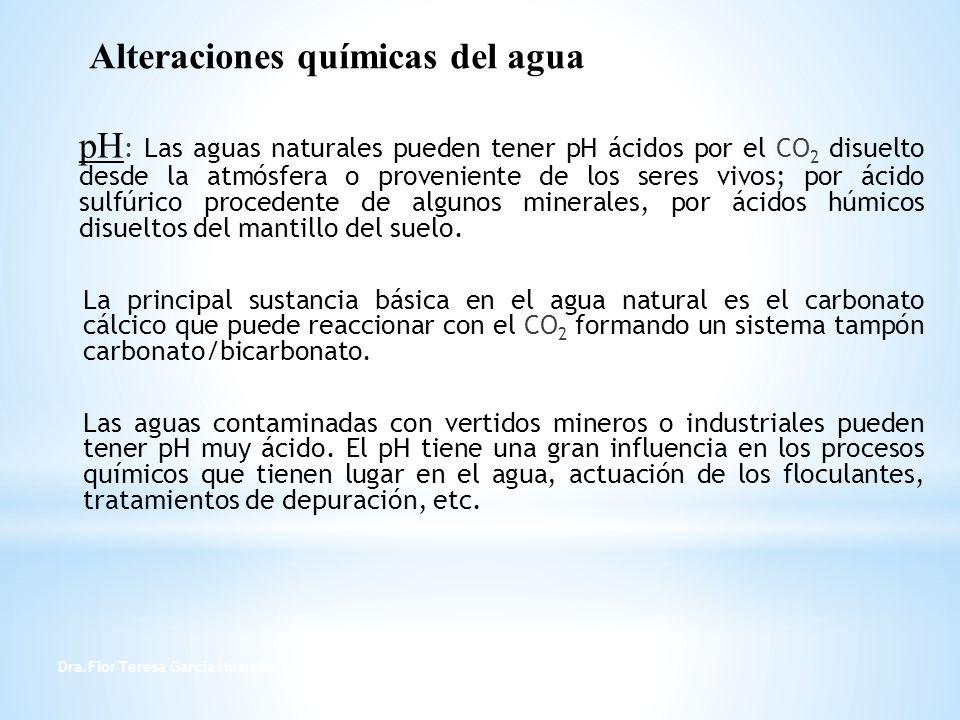 Dra.Flor Teresa García Huamán 10 pH : Las aguas naturales pueden tener pH ácidos por el CO 2 disuelto desde la atmósfera o proveniente de los seres vi