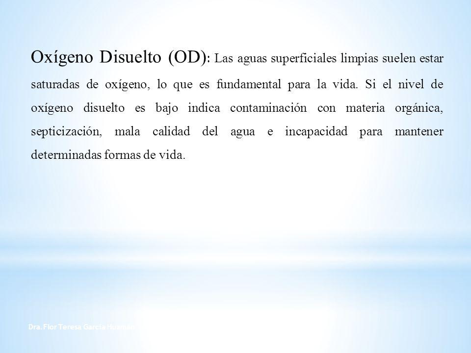 Dra.Flor Teresa García Huamán 11 Oxígeno Disuelto (OD) : Las aguas superficiales limpias suelen estar saturadas de oxígeno, lo que es fundamental para