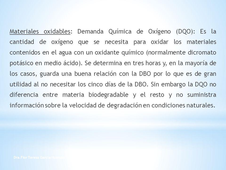 Dra.Flor Teresa García Huamán 13 Materiales oxidables: Demanda Química de Oxígeno (DQO): Es la cantidad de oxígeno que se necesita para oxidar los mat
