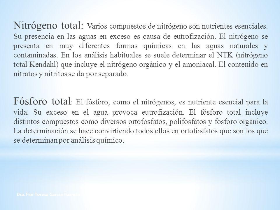 Dra.Flor Teresa García Huamán 14 Nitrógeno total: Varios compuestos de nitrógeno son nutrientes esenciales. Su presencia en las aguas en exceso es cau