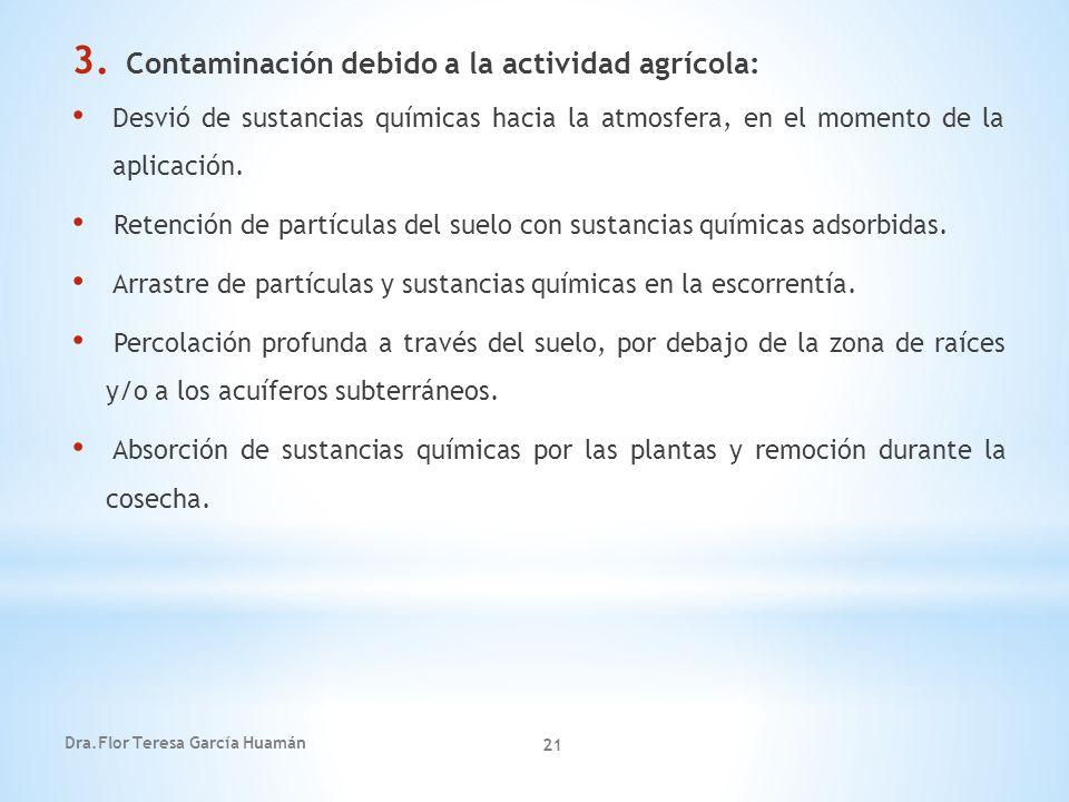 Dra.Flor Teresa García Huamán 21 3. Contaminación debido a la actividad agrícola: Desvió de sustancias químicas hacia la atmosfera, en el momento de l