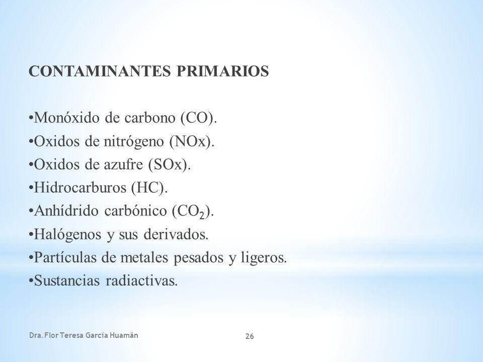 Dra.Flor Teresa García Huamán 26 CONTAMINANTES PRIMARIOS Monóxido de carbono (CO). Oxidos de nitrógeno (NOx). Oxidos de azufre (SOx). Hidrocarburos (H