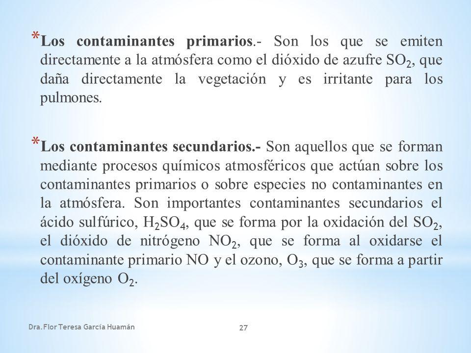 Dra.Flor Teresa García Huamán 27 * Los contaminantes primarios.- Son los que se emiten directamente a la atmósfera como el dióxido de azufre SO 2, que