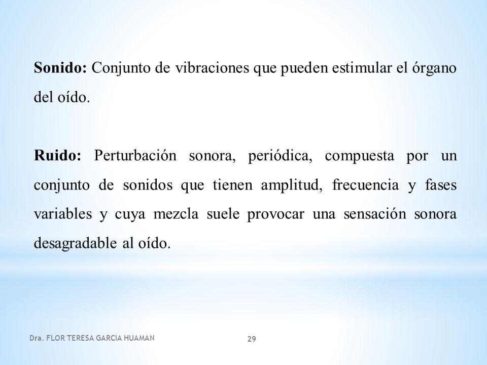 Dra. FLOR TERESA GARCIA HUAMAN 29 Sonido: Conjunto de vibraciones que pueden estimular el órgano del oído. Ruido: Perturbación sonora, periódica, comp