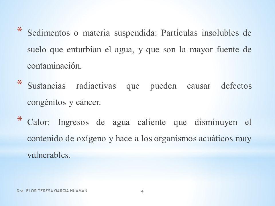 Dra.Flor Teresa García Huamán 5 Las fuentes puntuales descargan contaminantes en localizaciones específicas a través de tuberías y alcantarillas.