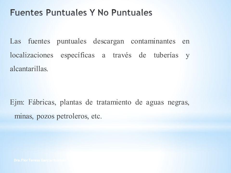 Dra.Flor Teresa García Huamán 5 Las fuentes puntuales descargan contaminantes en localizaciones específicas a través de tuberías y alcantarillas. Ejm: