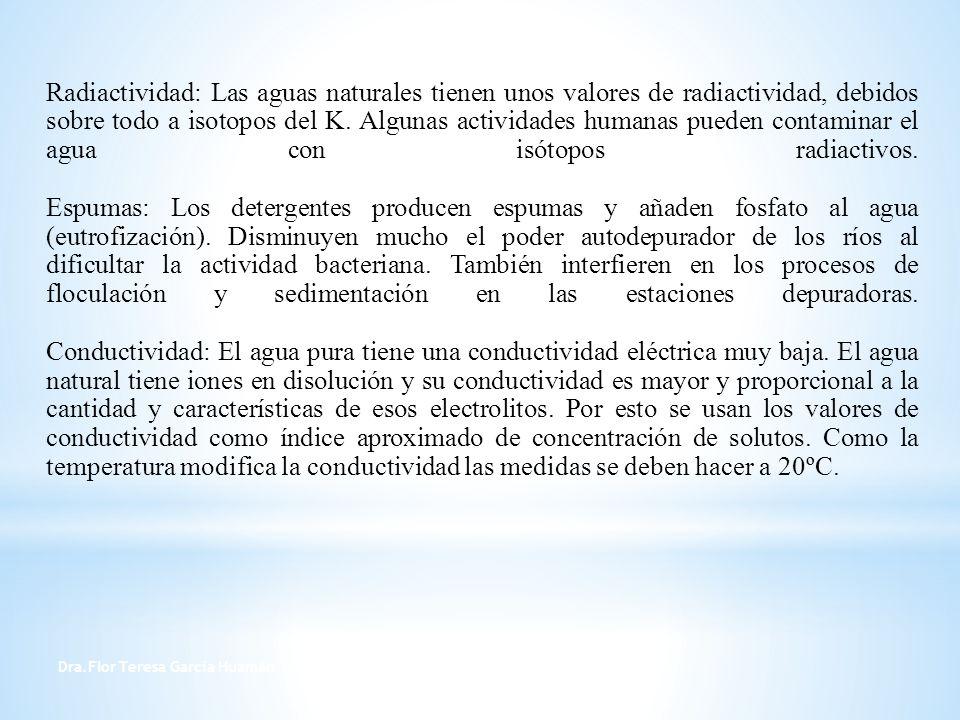 Dra.Flor Teresa García Huamán 10 pH : Las aguas naturales pueden tener pH ácidos por el CO 2 disuelto desde la atmósfera o proveniente de los seres vivos; por ácido sulfúrico procedente de algunos minerales, por ácidos húmicos disueltos del mantillo del suelo.