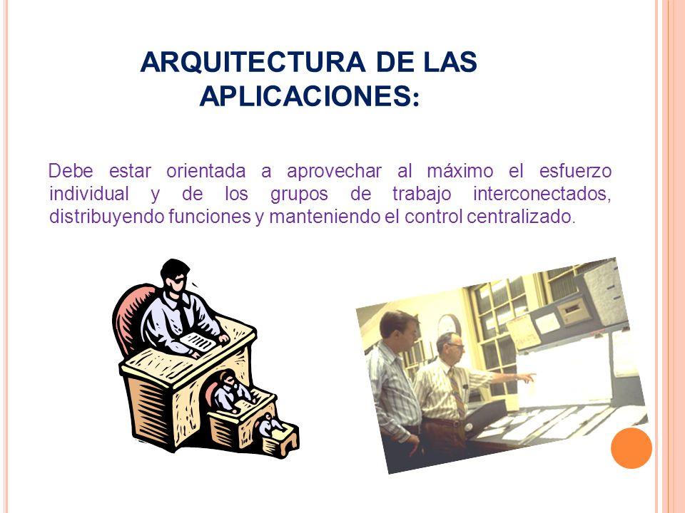 ARQUITECTURA DE LAS APLICACIONES : Debe estar orientada a aprovechar al máximo el esfuerzo individual y de los grupos de trabajo interconectados, distribuyendo funciones y manteniendo el control centralizado.