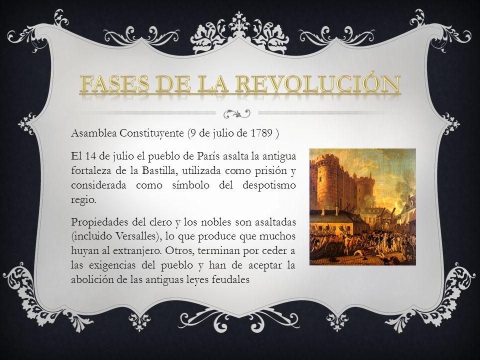 Asamblea Constituyente (9 de julio de 1789 ) El 14 de julio el pueblo de París asalta la antigua fortaleza de la Bastilla, utilizada como prisión y co