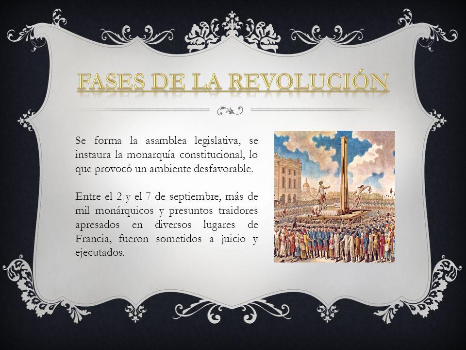 Se forma la asamblea legislativa, se instaura la monarquía constitucional, lo que provocó un ambiente desfavorable. Entre el 2 y el 7 de septiembre, m