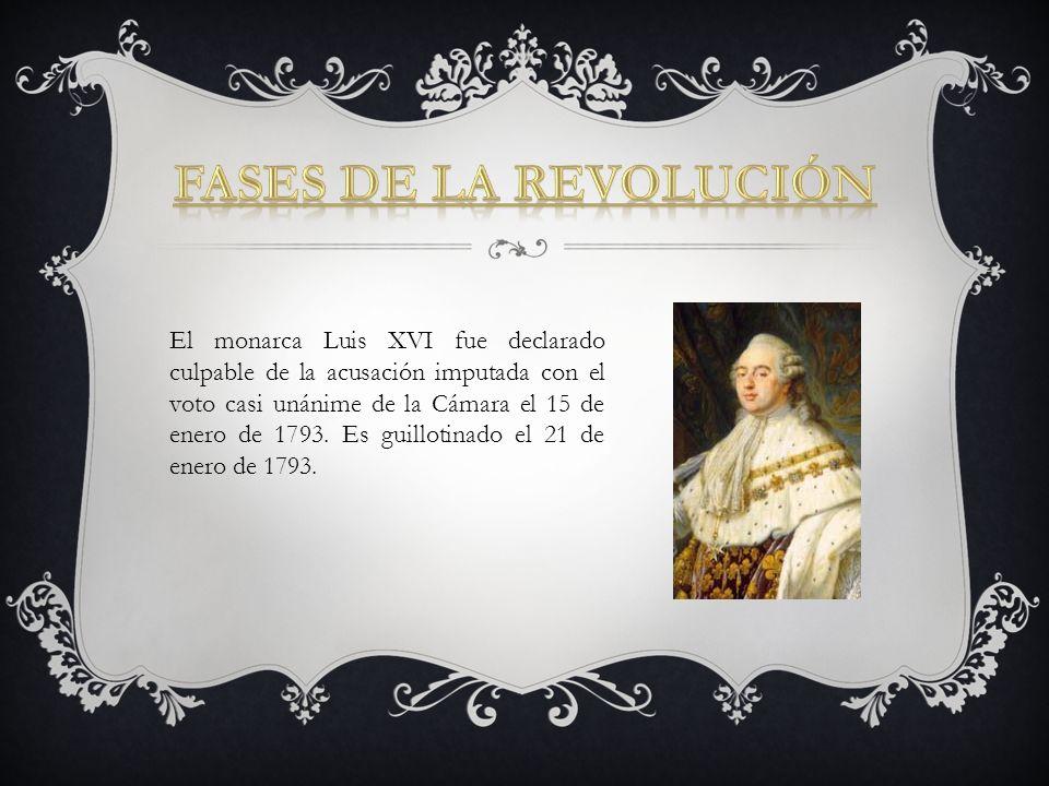 El monarca Luis XVI fue declarado culpable de la acusación imputada con el voto casi unánime de la Cámara el 15 de enero de 1793. Es guillotinado el 2