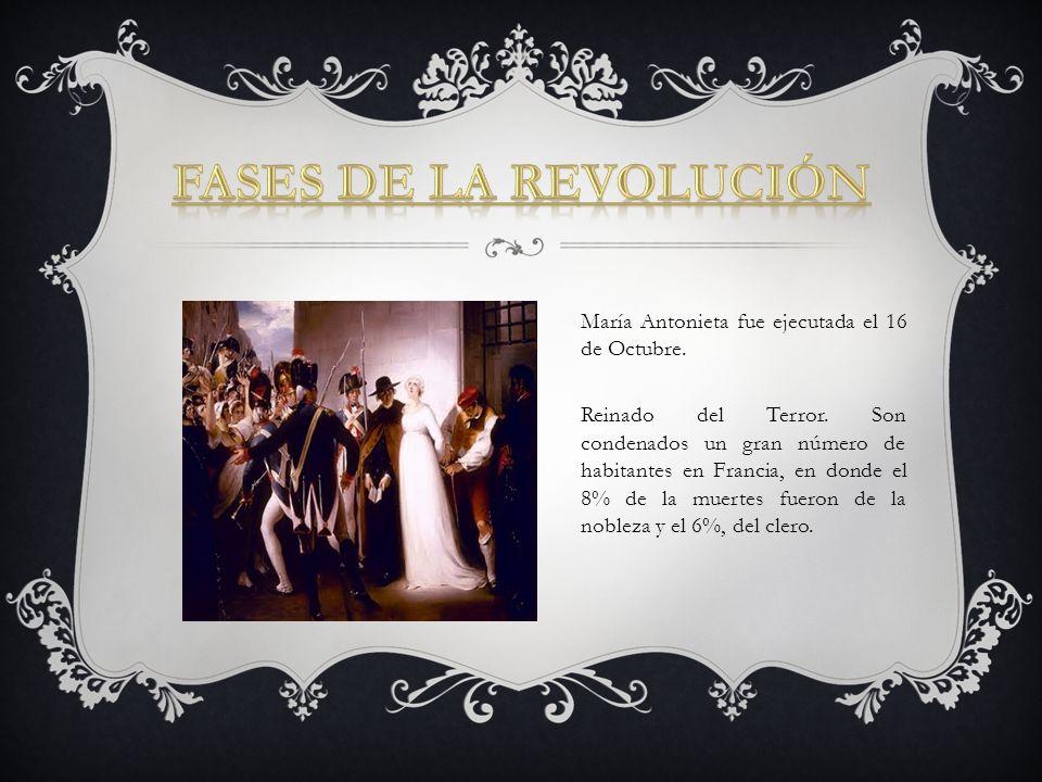 María Antonieta fue ejecutada el 16 de Octubre. Reinado del Terror. Son condenados un gran número de habitantes en Francia, en donde el 8% de la muert