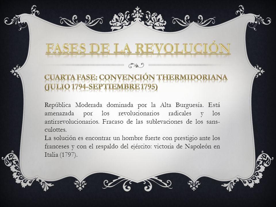 República Moderada dominada por la Alta Burguesía. Está amenazada por los revolucionarios radicales y los antirrevolucionarios. Fracaso de las subleva