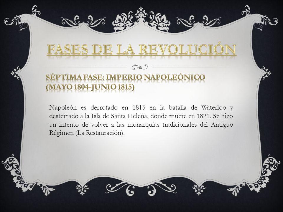 Napoleón es derrotado en 1815 en la batalla de Waterloo y desterrado a la Isla de Santa Helena, donde muere en 1821. Se hizo un intento de volver a la