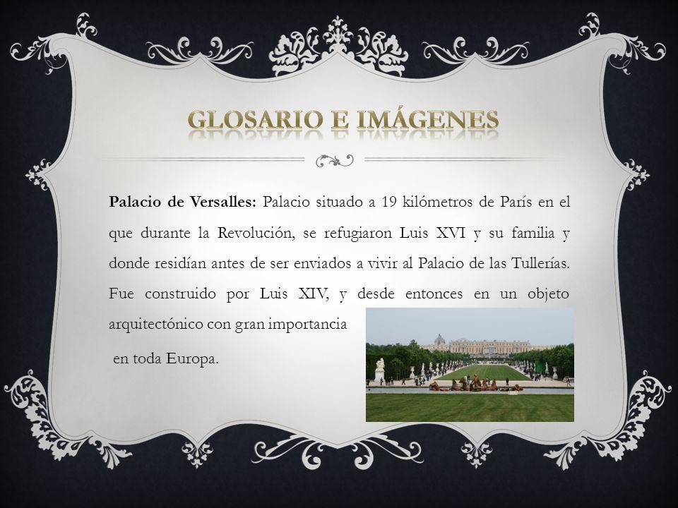 Palacio de Versalles: Palacio situado a 19 kilómetros de París en el que durante la Revolución, se refugiaron Luis XVI y su familia y donde residían a