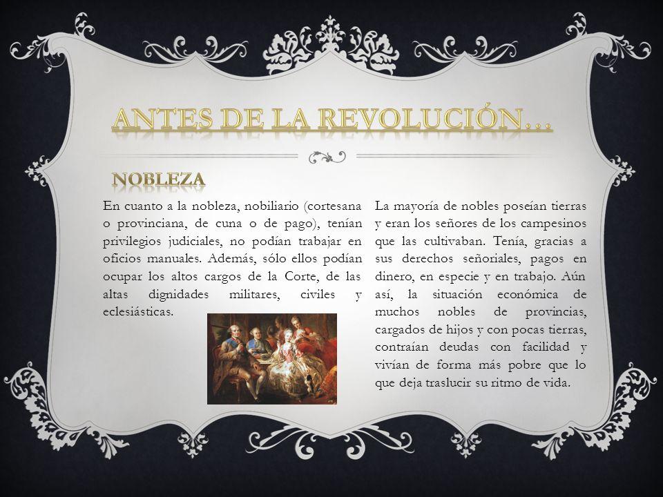 En cuanto a la nobleza, nobiliario (cortesana o provinciana, de cuna o de pago), tenían privilegios judiciales, no podían trabajar en oficios manuales