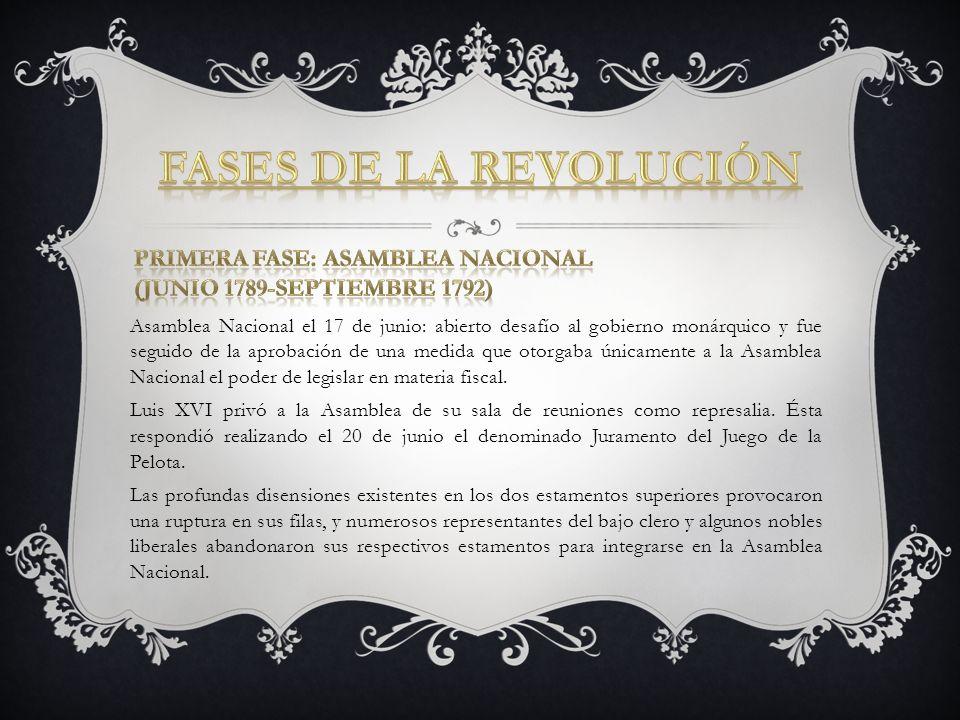 Asamblea Nacional el 17 de junio: abierto desafío al gobierno monárquico y fue seguido de la aprobación de una medida que otorgaba únicamente a la Asa