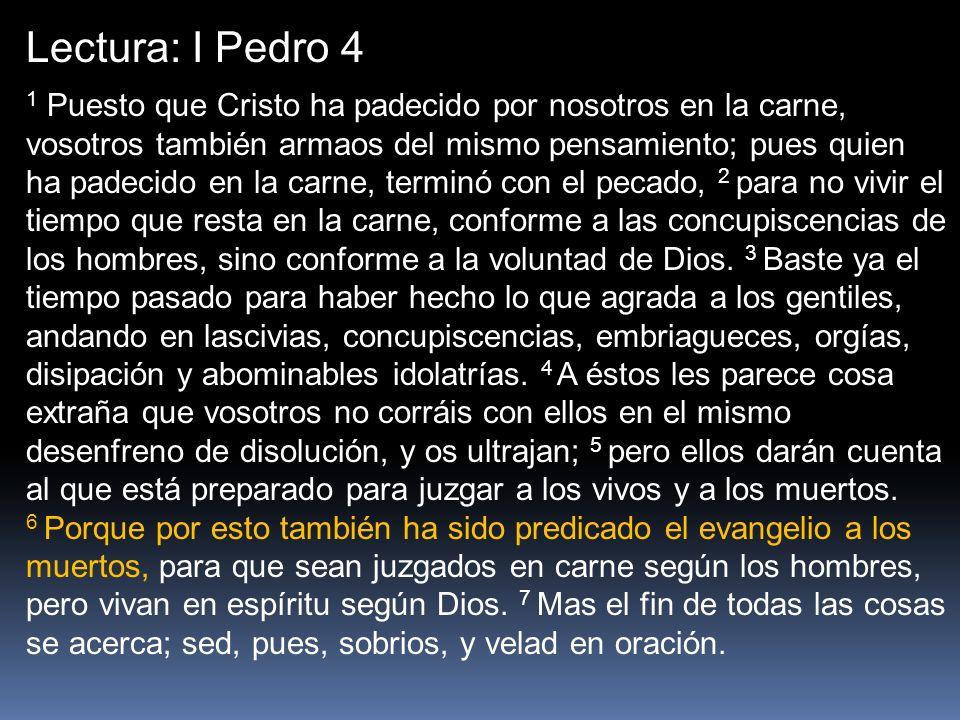 Lectura: I Pedro 4 1 Puesto que Cristo ha padecido por nosotros en la carne, vosotros también armaos del mismo pensamiento; pues quien ha padecido en