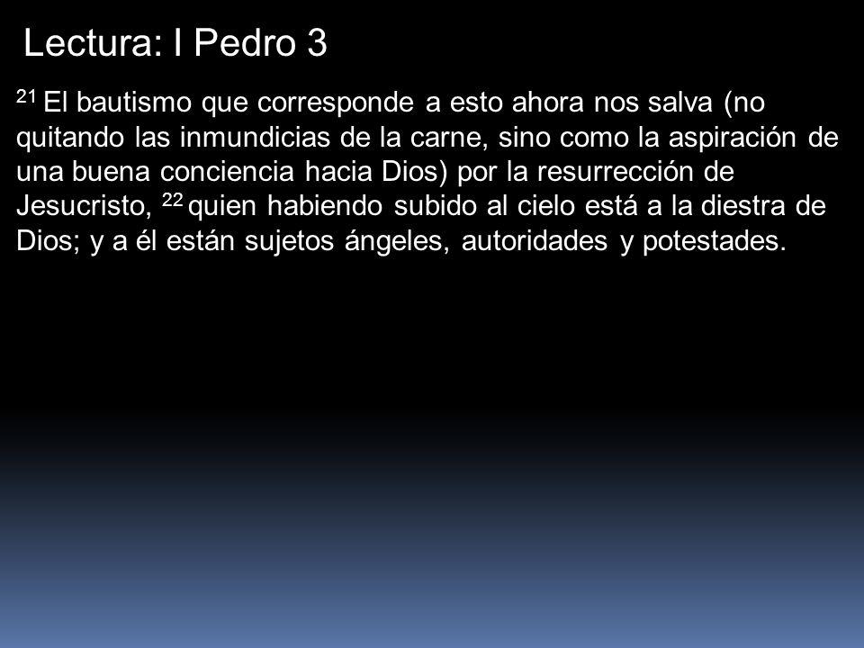 Lectura: I Pedro 3 21 El bautismo que corresponde a esto ahora nos salva (no quitando las inmundicias de la carne, sino como la aspiración de una buen