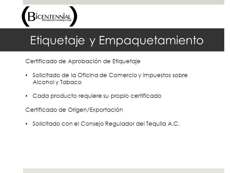 Etiquetaje y Empaquetamiento Certificado de Aprobación de Etiquetaje Solicitado de la Oficina de Comercio y Impuestos sobre Alcohol y Tabaco Cada prod