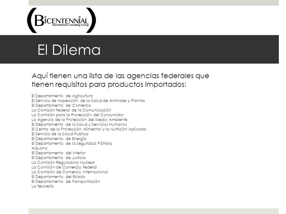 El Dilema Aquí tienen una lista de las agencias federales que tienen requisitos para productos importados: El Departamento de Agricultura El Servicio