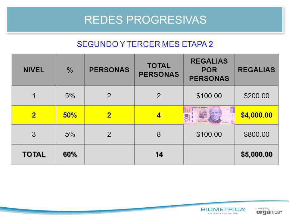 REDES PROGRESIVAS NIVEL%PERSONAS TOTAL PERSONAS REGALIAS POR PERSONA REGALIAS 12.5%22$50.00$100.00 22.5%24$50.00$200.00 350%281,000.00$8,000.00 45%216$100.00$1,600.00 TOTAL60%30$9,900.00 CUARTO Y QUINTO MES ETAPA 3