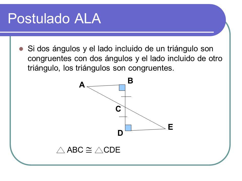 Postulado LLL Si los lados de un triángulo son congruentes con los lados de un segundo triángulo, entonces los triángulos son congruentes. A B C D E F