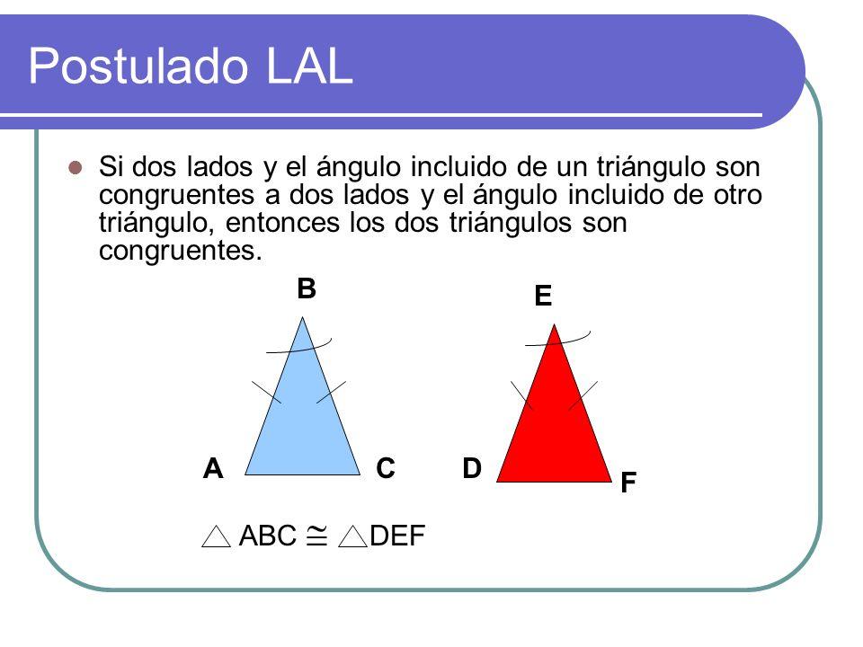 Postulado AAL Si dos ángulos y el lado no incluido de un triángulo son congruentes con dos ángulos y el lado no incluido de otro triángulo, los triáng