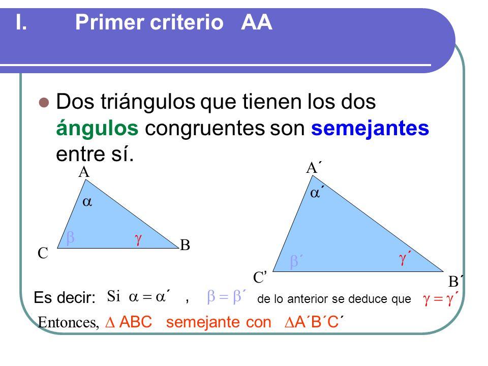 SEMEJANZA DE TRIÁNGULOS POSTULADOS DE SEMEJANZA Criterio AA de semejanza. Teorema: Si dos triángulos tienen sus dos ángulos correspondientes congruent