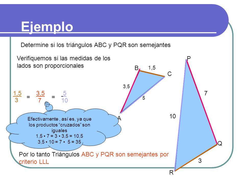 II. Segundo criterio LLL Dos triángulos que tienen los tres lados proporcionales son semejantes entre sí. A´A´ B´B´ C A B C a a´ El cociente obtenido