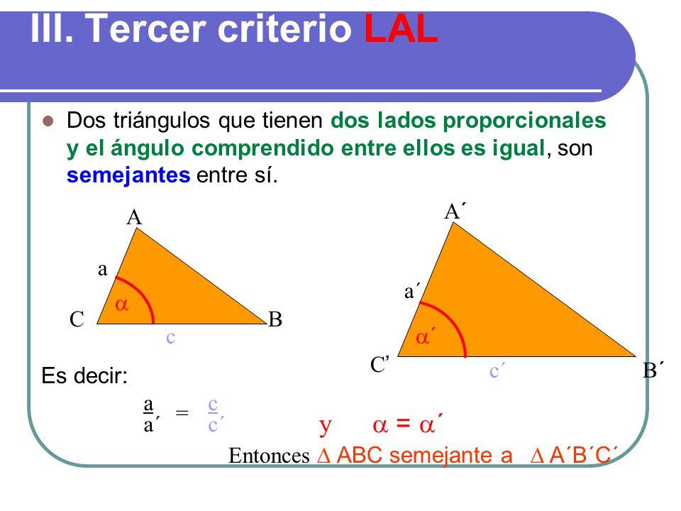 Ejemplo Determine si los triángulos ABC y PQR son semejantes A B C P Q R 1,5 3,5 5 3 7 10 Verifiquemos si las medidas de los lados son proporcionales
