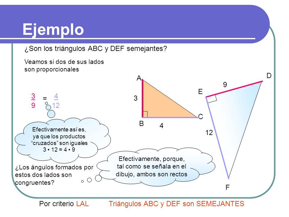 III. Tercer criterio LAL Dos triángulos que tienen dos lados proporcionales y el ángulo comprendido entre ellos es igual, son semejantes entre sí. A´A
