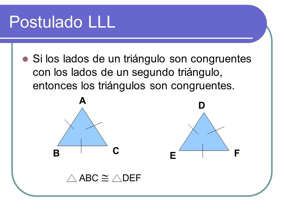 POSTULADOS DE CONGRUENCIA Criterio LLL: Si en dos triángulos los tres lados de uno son respectivamente congruentes con los de otro, entonces los trián