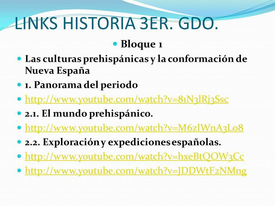 LINKS HISTORIA 3ER. GDO. Bloque 1 Las culturas prehispánicas y la conformación de Nueva España 1. Panorama del periodo http://www.youtube.com/watch?v=