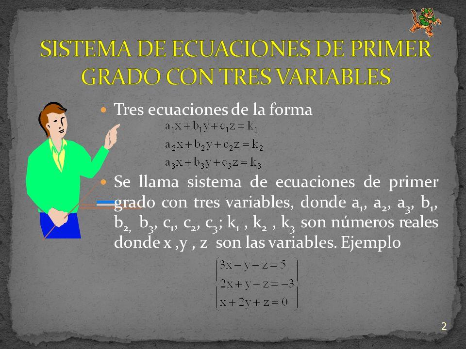 2 Tres ecuaciones de la forma Se llama sistema de ecuaciones de primer grado con tres variables, donde a 1, a 2, a 3, b 1, b 2, b 3, c 1, c 2, c 3 ; k 1, k 2, k 3 son números reales donde x,y, z son las variables.