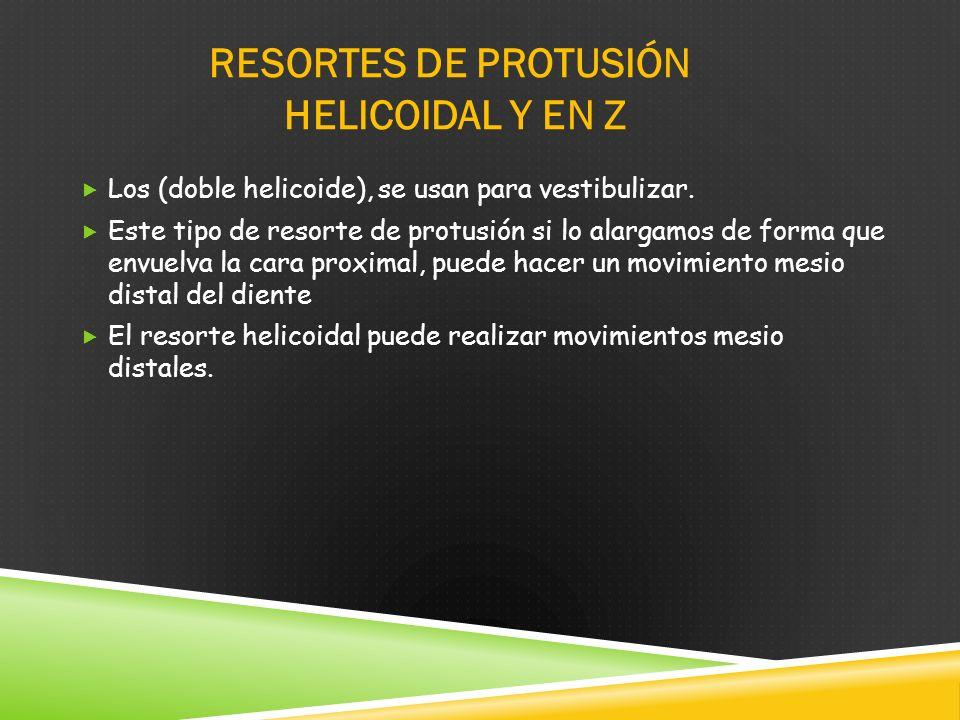 RESORTES DE PROTUSIÓN HELICOIDAL Y EN Z Los (doble helicoide), se usan para vestibulizar.